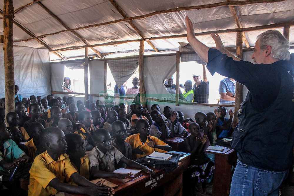 EU Commissioner CHRISTOS STYLIANIDES visits a school in Bidibidi settlement. Out of 80,000 children, 23,000 are enrolled in the schools and due to lack of funding there are not enough resources to educate all refugee children. BidiBidi settlement in Northern Uganda, is now the third largest refugee settlement in the world. It currently holds more than 210,000 South Sudanese refugees escaping from war, and the ongoing influx of a daily average of 3,000 refugees is causing a strain on humanitarian aid and funding.