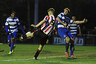 Niall Rowe smashes in his goal during the FA Trophy match between Oxford City and Cheltenham Town at Court Place Farm, Oxford, United Kingdom on 16 January 2016. Photo by Antony Thompson.