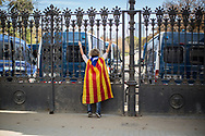 A woman wrapped in a catalan flag is seen at the gats of Ciutadella Park where the Catalan Parlament is. The park was closed by the Mossos d'Esquadra for safety reasons.