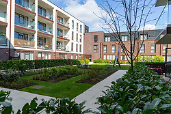 The swing in the gardens that surrounds the controversy where social housing residents are up in arms after having their children forbidden from using a play area overlooked by their homes, as it is said to be only available to the children of those who have bought properties at the new Baylis Old School housing development in Lambeth, South London . London, March 26 2019.