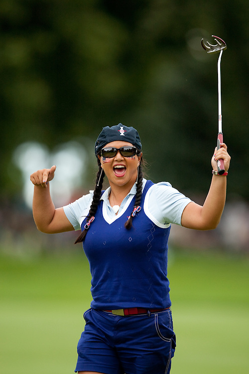 Christina Kim. Friday afternoon foursomes matches, 2009 Solheim Cup Matches. Rich Harvest Farms Golf Club, Sugar Grove, Illinois, Friday, August 21 2009. Photograph © 2009 Darren Carroll