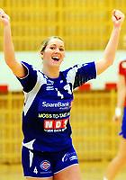 Håndball Skrimhallen 4 April 2009<br /> Kvinner 2 div Kvalifisering  til 1 div<br /> <br /> HK Rygge vs Stjørdal HK<br /> <br /> Resultat  26 - 23<br /> <br /> Foto: Robert Christensen - Digitalsport<br /> <br /> HK Rygge Linn Mangset i fri jubel