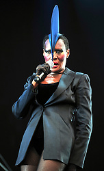 © licensed to London News Pictures. LONDON UK  03/07/11.Grace Jones Performs at Day 3 of the Wireless Festival in Hyde Park London saw thousands of music fans enjoying the sunshine and the music . Please see special instructions for usage rates. Photo credit should read ALAN ROXBOROUGH/LNP