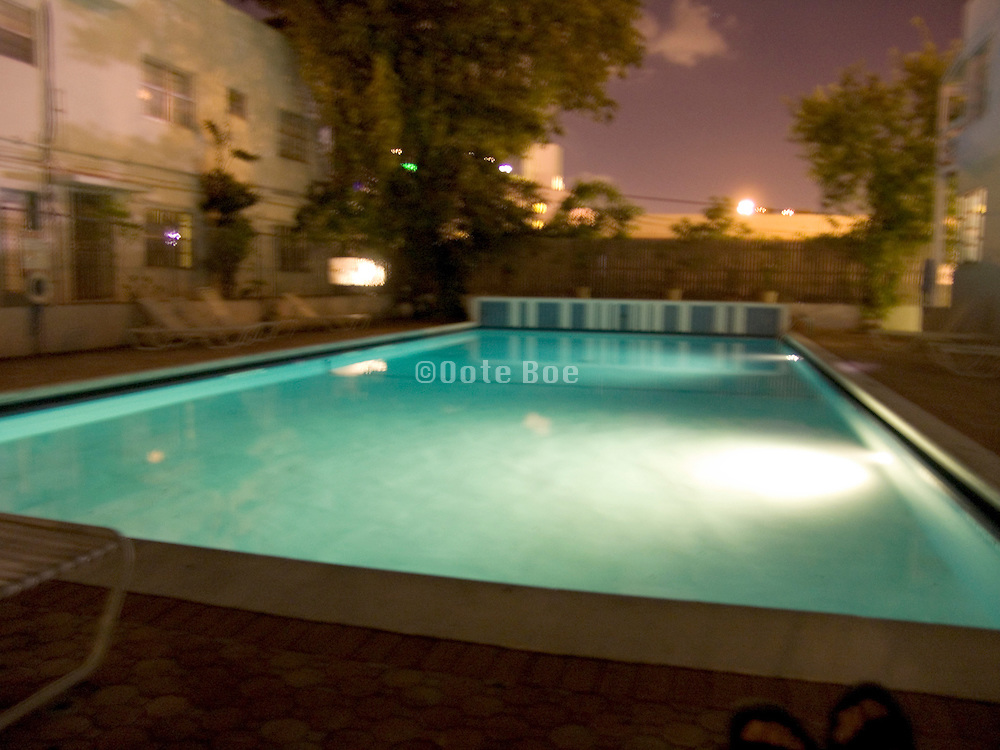 swimming pool by night Miami Beach USA