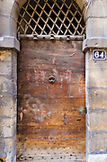 Wooden door in old town Vieux Lyon, France (UNESCO World Heritage Site)