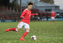 WREXHAM, WALES - Thursday, November 10, 2016: Wales' Jack Evans in action against Greece during the UEFA European Under-19 Championship Qualifying Round Group 6 match at the Racecourse Ground. (Pic by Gavin Trafford/Propaganda)