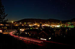 """""""Downtown Truckee 1"""" - This is a photograph of the moon setting over Downtown Truckee, CA, in the early morning."""