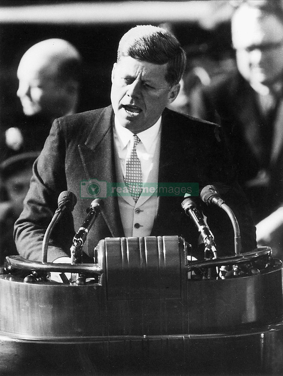 Jan. 20, 1961 - Washington, District of Columbia, U.S. - President John F. Kennedy delivers his inaugural address after taking the oath of office at the Capitol.  (Credit Image: © Minneapolis Star Tribune/ZUMAPRESS.com)