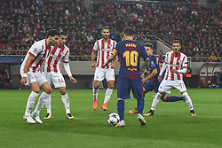 October 31, 2017 - Piraeus, Attica, Greece - Lionel Messi of Barcelona in action during the UEFA Champions League group D football match between FC Barcelona and Olympiakos FC at the Karaiskakis stadium in Piraeus near Athens on October 31, 2017  (Credit Image: © Wassilios Aswestopoulos/NurPhoto via ZUMA Press)