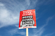 A Bring Down Boris placard during the Stop The Coup protest against the proroguing of Parliament on 31st August 2019 in London in the United Kingdom. Left-wing group Momentum and the Peoples Assembly coordinated a series of Stop The Coup protests across the UK today, aimed at Boris Johnson and the UK government proroguing Parliament.