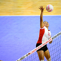 111413  Adron Gardner/Independent<br /> <br /> Shiprock Chieftain Ashley John (10) lines up a spike to the Raton Tigers during the state volleyball tournament at the Santa Ana Star Center in Rio Rancho Thursday.