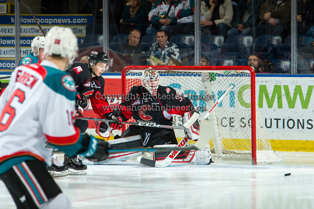 KELOWNA, CANADA - FEBRUARY 8:  Taylor Gauthier #35 of the Prince George Cougars makes a second period save against the Kelowna Rockets on February 8, 2019 at Prospera Place in Kelowna, British Columbia, Canada.  (Photo by Marissa Baecker/Shoot the Breeze)