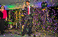 """July 9, 2015, New Orleans, LA Louisiana Gov. Bobby Jindal after giving a keynote speech to a group of supporters at the National Right to Life Convention in the Marriot Hotel. """"If the Republican Party cannot make defending the defenseless into a winning issue, they should just close up shop,""""  Jindal told them. He boasted that Louisiana has been ranked as the """"most pro-life state for the last six years,"""" according to Americans United for Life. However according to Associated Press, Louisiana was one of two states, (Michigan is the other) — where abortions are on the rise from 2010 to 2014. <br /> <br /> Jindal was on the offensive, attacking Obama, Hillary and all of the other Republican Candidates, who in his eyes are not embracing Republican principles deeply enough, at least not like he is. <br /> He talked about killing islamic terrorist in front of a sign the read """"Life,' that was made out of balloons."""