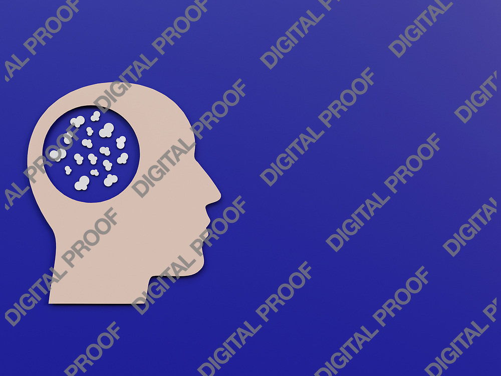 Men Head with popcorn or small clouds as symbols of poor thoughts Minimalism Cut Paper Art over a phantom blue background - 3D Rendering Concept