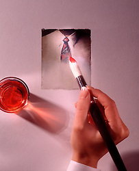 artist hand painting polaroid photo white collar shirt tie brush red paint copy space CONCEPT STOCK PHOTOS CONCEPT STOCK PHOTOS