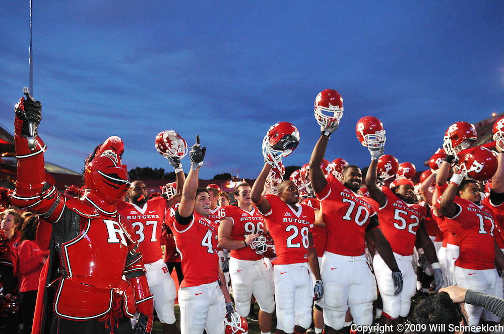 Oct 10, 2009; Piscataway, NJ, USA; The Rutgers Scarlet Knights celebrate their 42-0 victory over Texas Southern in NCAA college football at Rutgers Stadium.