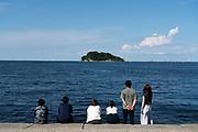 relaxing at Umikaze park, Yokosuka with Tokyo Bay and Sarushima Island