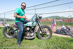 Kevin Baas aka Teach, on an old Harley-Davidson Knucklehead at the Spirit of Sturgis races at the fairgrounds during the Sturgis Black Hills Motorcycle Rally. Sturgis, SD, USA. Monday, August 5, 2019. Photography ©2019 Michael Lichter.