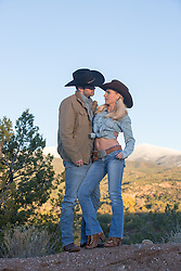 sexy cowboy couple outdoors together