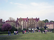 Dulwich Hamlet fans leaving Champion Hill following the clubs last game of the season against Woking on the 22nd April 2019 at Champion Hill in South London in the United Kingdom.