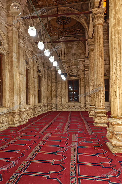 Marble Columns of the passageways on the sides of the Sanctuary Hall of the Muhammad Ali Mosque in the Citadel of Cairo