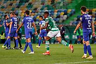 Jovane Cabral transports the ball after scored during the Liga NOS match between Sporting Lisbon and Belenenses SAD at Estadio Jose Alvalade, Lisbon, Portugal on 21 April 2021.