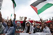 The speeches were held in Parliament Square and the turn-out was huge, listening in good spirited anger.<br /> <br /> Tens of thousands of protesters marched in Central London to show their outrage against the Israeli onslaught on Gaza.