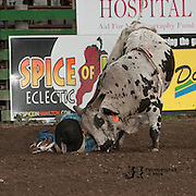 Payton Fitzpatrick meets Red Eye Rodeos Honey Badger at the 2016 Darby MT EPB  Josh Homer photo.  Photo credit must be given on all uses.