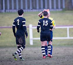 Ref sends off Edusport Academy Almandine Riaha (15).<br /> Whitehill Welfare 2 v 1 Edusport Academy, South Challenge Cup Quarter Final played 7/3/2015 at Ferguson Park, Carnethie Street, Rosewell.