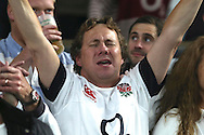 an England fan shows his emotion as he sings the national anthem. Rugby World Cup 2015 pool A match, England v Australia at Twickenham Stadium in London, England  on Saturday 3rd October 2015.<br /> pic by  John Patrick Fletcher, Andrew Orchard sports photography.