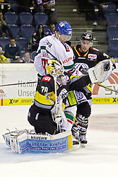 03.10.2014, König Palast, Krefeld, GER, DEL, Krefeld Pinguine vs Augsburger Panther, 7. Runde, im Bild Torchance fuer Sebastian Uvira #93 (Augsburger Panther). Parade von Goalie Tomas Duba #70 (Krefeld Pinguine). Aktion, Action, Hochformat // during germans DEL Icehockey League 7th round match between Krefeld Pinguine and Augsburger Panther at the König Palast in Krefeld, Germany on 2014/10/03. EXPA Pictures © 2014, PhotoCredit: EXPA/ Eibner-Pressefoto/ Grimme<br /> <br /> *****ATTENTION - OUT of GER*****