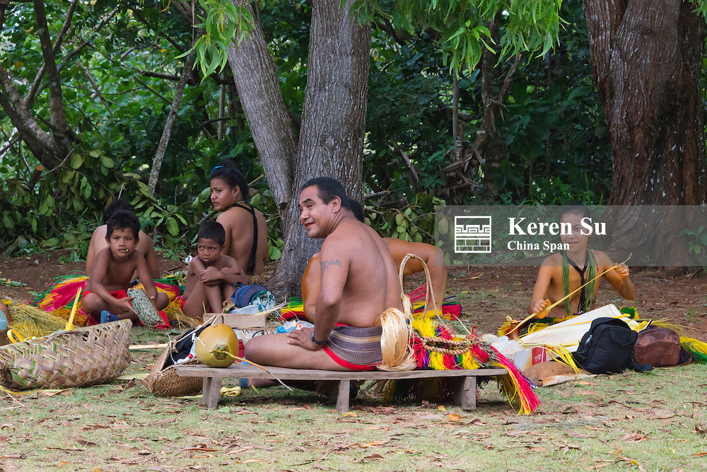 Yapese man and woman in traditional clothing at Yap Day Festival, Yap Island, Federated States of Micronesia