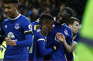 Ademola Lookman of Everton (c) celebrates with his teammates after scoring his teams 4th goal. Premier league match, Everton v Manchester City at Goodison Park in Liverpool, Merseyside on Sunday 15th January 2017.<br /> pic by Chris Stading, Andrew Orchard sports photography.