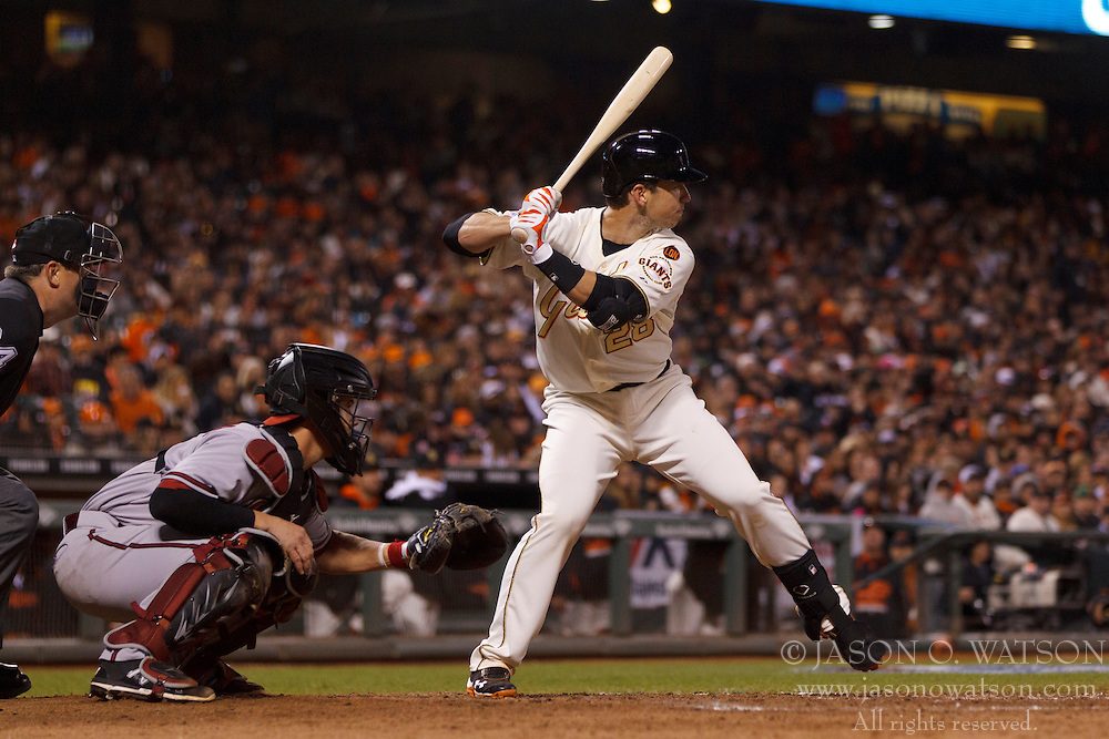 SAN FRANCISCO, CA - APRIL 18:  Buster Posey #28 of the San Francisco Giants at bat against the Arizona Diamondbacks during the seventh inning at AT&T Park on April 18, 2015 in San Francisco, California.  The San Francisco Giants defeated the Arizona Diamondbacks 4-1. (Photo by Jason O. Watson/Getty Images) *** Local Caption *** Buster Posey