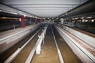 Nosedo, Milano : Impianto di depurazione delle acque reflue. nella foto la fase della dissabbiatura e disoleatura.Nosedo Waste Water Treatment plant, oil and grit removal.