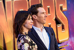 Benedict Cumberbatch and wife Sophie Hunter attending the Avengers: Infinity War UK Fan Event held at Television Studios in White City, London.