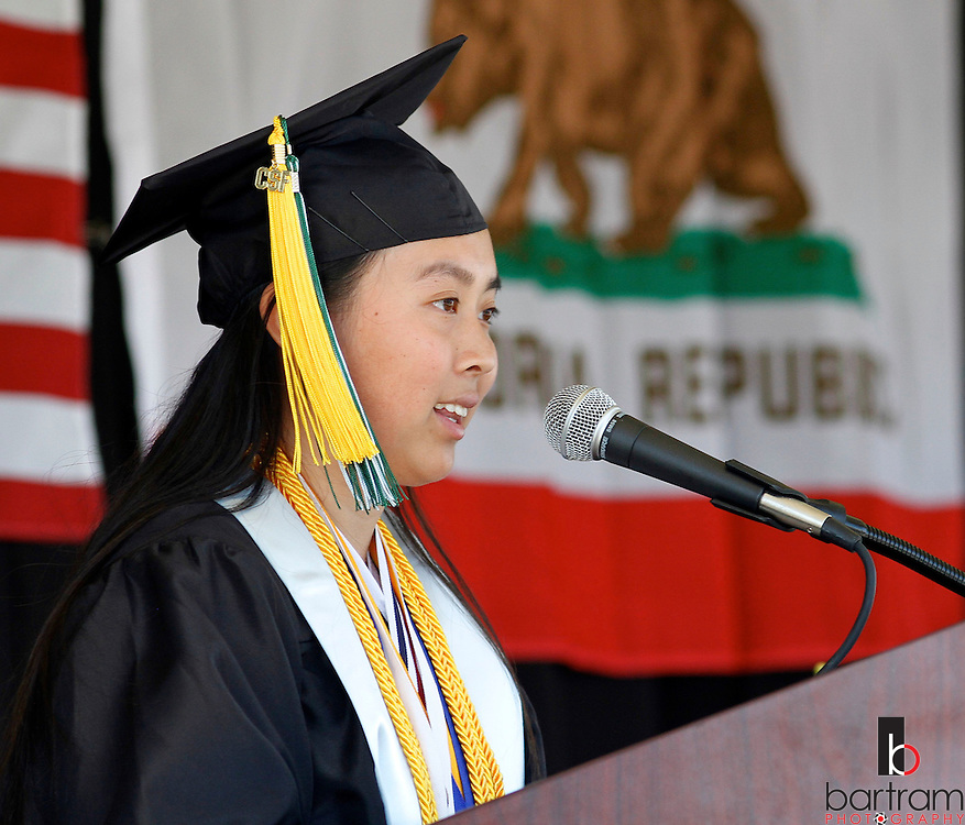 Dozier-Libbey Medical High School valedictorian Tuyen Mai speaks during graduation on Friday, June 8, 2012.  (Photo by Kevin Bartram)
