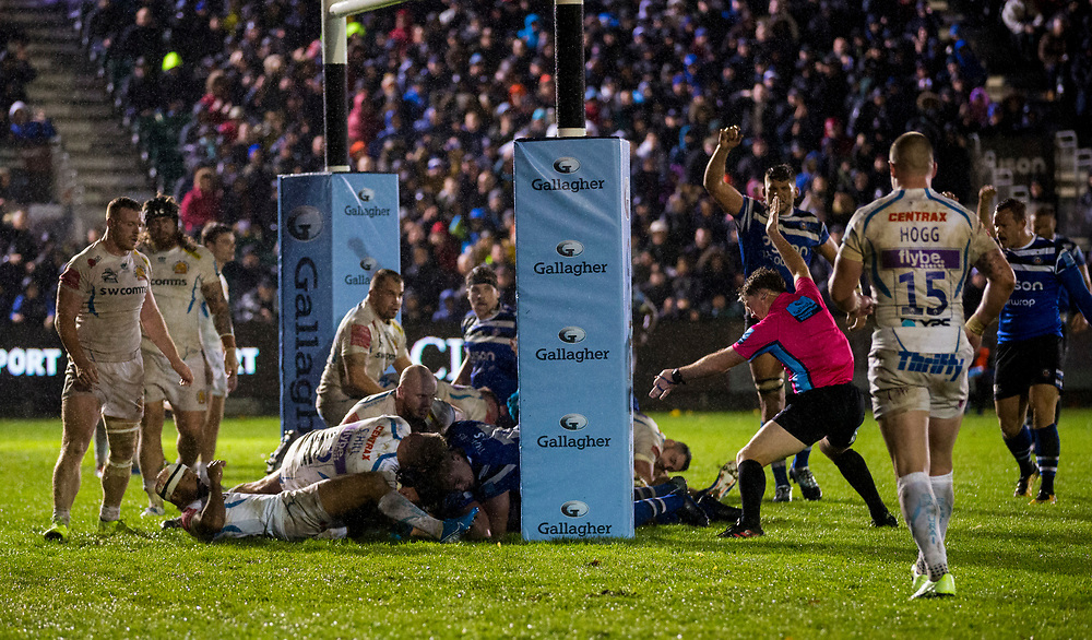 Bath score there first try<br /> <br /> Photographer Bob Bradford/CameraSport<br /> <br /> Gallagher Premiership - Bath Rugby v Exeter Chiefs - Friday 25th October 2019 - The Recreation Ground - Bath<br /> <br /> World Copyright © 2019 CameraSport. All rights reserved. 43 Linden Ave. Countesthorpe. Leicester. England. LE8 5PG - Tel: +44 (0) 116 277 4147 - admin@camerasport.com - www.camerasport.com