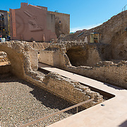 Old Roman walls excavation site in Tarragona, Spain