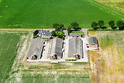 Nederland, Noord-Brabant, Gemeente Someren, 26-06-2014; vrachtauto firma Agrifirm lost veevoeder bij silo's op (kippen)boerderij.<br /> luchtfoto (toeslag op standaard tarieven);<br /> aerial photo (additional fee required);<br /> copyright foto/photo Siebe Swart.