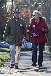 © Licensed to London News Pictures . FILE PICTURE DATED 10/02/2014 of NEIL and CHRISTINE HAMILTON campaigning for UKIP in the Wythenshawe and Sale East By-election . The Vice Chairman of UKIP , Neil Hamilton , has been removed from the post ofUKIP's Campaigns Director and replaced by the party's director of communications , Patrick O'Flynn . Photo credit : Joel Goodman/LNP
