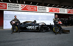 Drivers Romain Grosjean (left) and Kevin Magnussen during the Haas 2019 livery presentation at the Barcelona Catalunya racetrack during day one of pre-season testing at the Circuit de Barcelona-Catalunya.