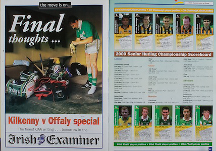 All Ireland Senior Hurling Championship - Final, .10.09.2000, 09.10.2000, 10th September 2000, .10092000AISHCF,.Senior Kilkenny v Offaly,.Minor Cork v Galway,.Kilkenny 5-15, Offaly 1-14, .Irish Examiner,