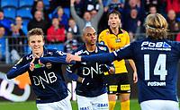 Fotball Herrer Tippeligaen 2014<br /> Marienlyst Stadion Gamle Gress  19.10.2014<br /> <br /> Strømsgodset vs Lillestrøm<br /> <br /> Resultat 2 - 0<br /> <br /> Foto: Robert Christensen Digitalsport<br /> <br /> Strømsgodset Martin Ødegaard jubler for 2 mål i dag , Marvin Ogunjimi og Iver Fossum gratulerer