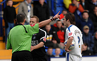 Photo: Paul Greenwood.<br />Tranmere Rovers v Swansea City. Coca Cola League 1. 10/03/2007.<br />Swansea's Lee Trundle recieves the red card for two bookable offences from referee Mr G Laws