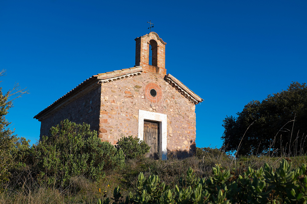 The 15-16th century Chapel of Sant Jaume de la Mata, in Mura, near the Coll d'Estenalles in Parc Natural de Sant Llorenç del Munt i l'Obac, Barcelona, Catalonia.
