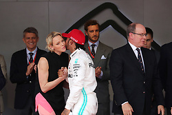 May 26, 2019 - Monte Carlo, Monaco - xa9; Photo4 / LaPresse.26/05/2019 Monte Carlo, Monaco.Sport .Grand Prix Formula One Monaco 2019.In the pic: S.A.S La Princesse Charlene De Monaco, Lewis Hamilton (GBR) Mercedes AMG F1 W10 and S.A.S. Prince Albert II (Credit Image: © Photo4/Lapresse via ZUMA Press)