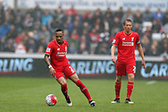 Nathaniel Clyne of Liverpool (l)  in action.Barclays Premier league match, Swansea city v Liverpool  at the Liberty Stadium in Swansea, South Wales on Sunday 1st May 2016.<br /> pic by  Andrew Orchard, Andrew Orchard sports photography.