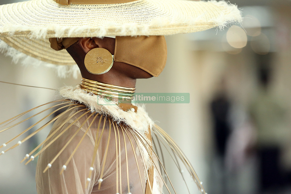 South Africa - Durban - 17 August 2020 - Model Thando Mayani wearing  student designer Sibuyiselwa Sithole's outfit at the Young Designer Award competion held at  Greyville Racecourse.<br /> Picture: Shelley Kjonstad/African News Agency(ANA)