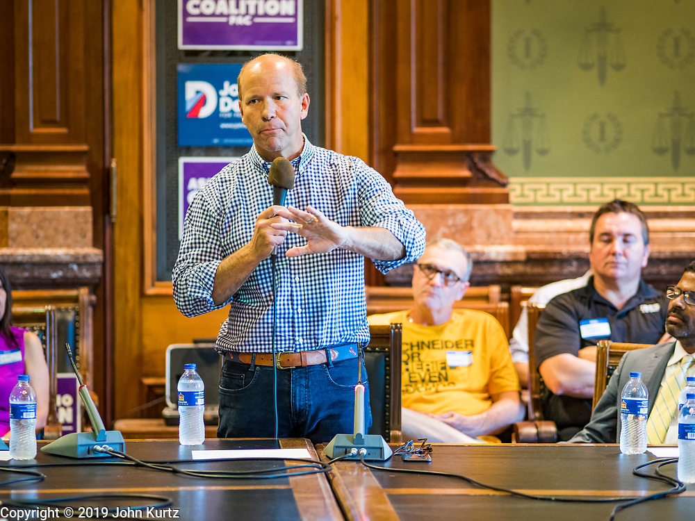 29 JUNE 2019 - DES MOINES, IOWA: JOHN DELANEY, former Congressman from Maryland, talks to members of the Asian and Latino Coalition during a town hall meeting sponsored by the Asian and Latino Coalition. Delaney is running to be the Democratic nominee for the US Presidency in the 2020 election. He was the first Democratic presidential candidate to visit all 99 of Iowa's counties in the 2020 cycle. Iowa traditionally hosts the the first election event of the presidential election cycle. The Iowa Caucuses will be on Feb. 3, 2020.                         PHOTO BY JACK KURTZ